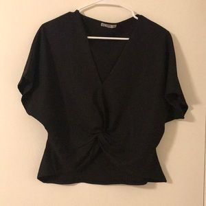 Zara Twist front black shirt